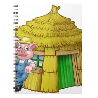 Three Little Pigs Fairy Tale Straw House Spiral Notebook