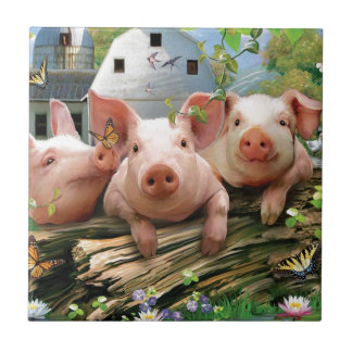 Three Little Pigs Small Square Tile