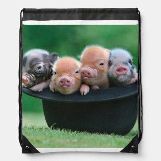 Three little pigs - three pigs - pig hat drawstring bag