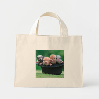 Three little pigs - three pigs - pig hat mini tote bag