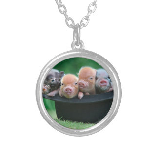 Three little pigs - three pigs - pig hat silver plated necklace