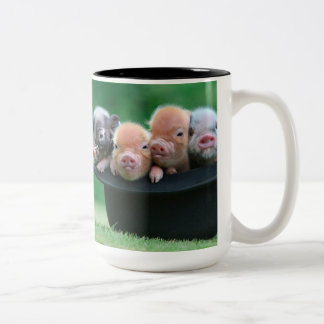 Three little pigs - three pigs - pig hat Two-Tone coffee mug