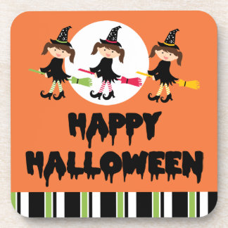 Three Little Witches Happy Halloween Coasters