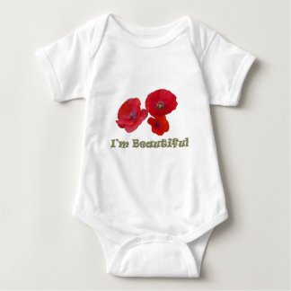 Three lovely red poppy flowers baby bodysuit