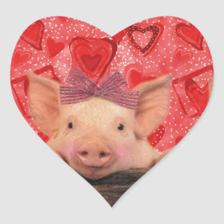 three lovely valentine pigs heart sticker - Valentine Pig