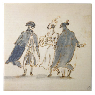 Three Masked Figures in Carnival Costume (pen & in Ceramic Tile