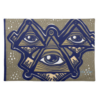 Three Masons in Space by ParanormalPrints Placemat