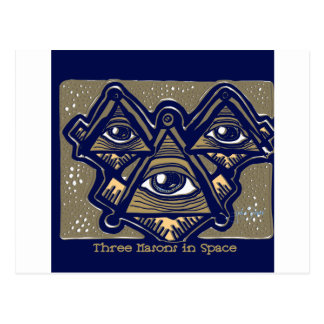 Three Masons in Space by ParanormalPrints Postcard