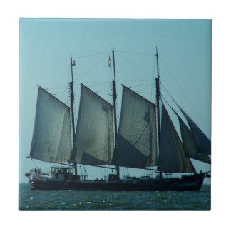 Three masted sailing ship ceramic tile