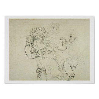 Three men and a woman drinking (pen & ink and w/c poster