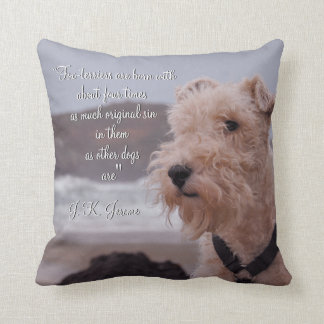 """Three men in a boat"" Montmorency wire fox terrier Cushion"