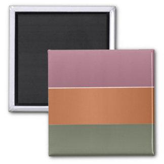 Three Metal Finish Colour Stripe - Add Text Img Square Magnet