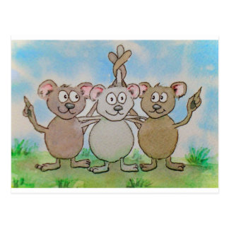 Three Mice Stand United Together Family Friend Postcard