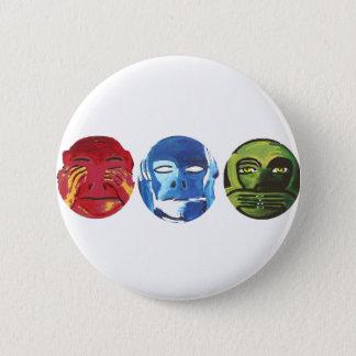 Three monkeys 6 cm round badge