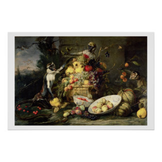 Three Monkeys Stealing Fruit (oil on canvas) Poster