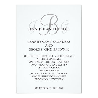 "Three Monogram Initials Names Wedding Invitation 5.5"" X 7.5"" Invitation Card"