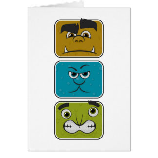 Three Monster Faces Card