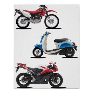 Three Motorcycles Poster