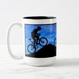 Three Mountain Bikers at Dusk Two-Tone Coffee Mug