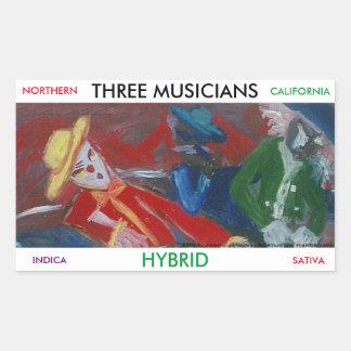 THREE MUSICIANS HYBRID RECTANGULAR STICKER