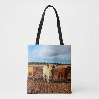 Three Naughty Highland Cows, Tote Shopping Bag.
