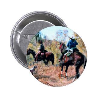 Three on trail 6 cm round badge