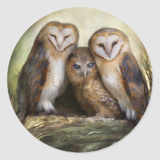 Three Owl Moon Art Sticker