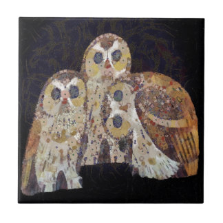 Three Owls - Art Nouveau Inspired by Klimt Ceramic Tile