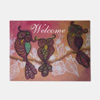 three owls welcome mat