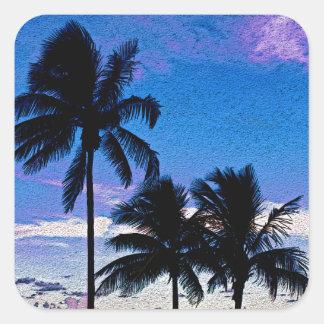 Three Palm trees Hollywood beach Florida. Square Sticker