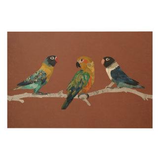 THREE PARAKEETS Wooden Canvas Wood Print