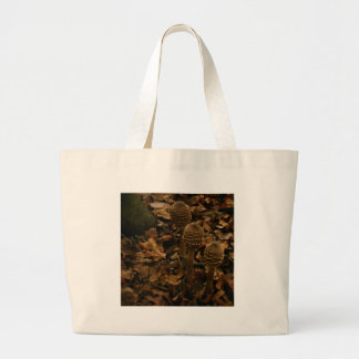 Three parasol mushrooms in the forest 2 jumbo tote bag