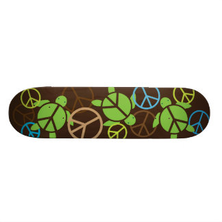 Three Peace Sign Honu Skateboard - Brown