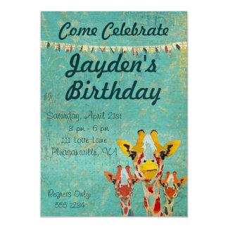 "Three Peeking  Giraffes  Birthday Invitation 5"" X 7"" Invitation Card"
