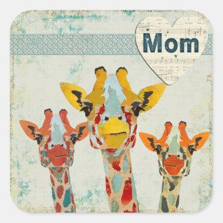Three Peeking Giraffes Mom Sticker