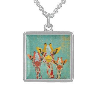Three Peeking Giraffes Necklace