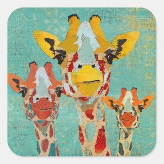 Three Peeking Giraffes Sticker