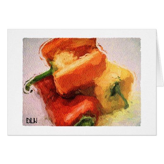 Three Peppers/Vegetables /Watercolor Look Card