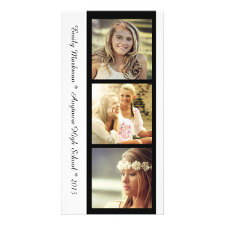 Three Photo Black White Graduation Announcement Custom Photo Card