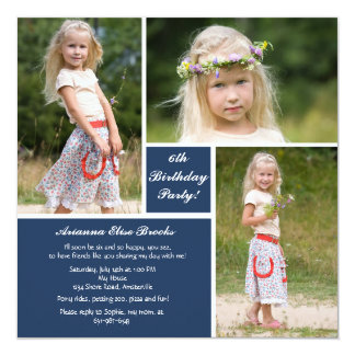 Three Photo Blue & White Invitation