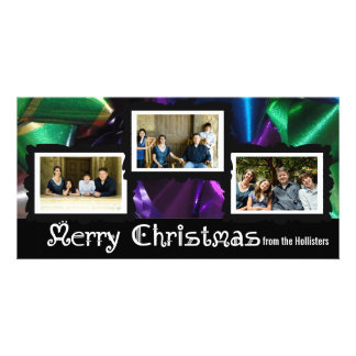 Three Photo Christmas Bows Card Photo Cards