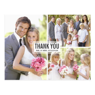 Three Photo Collage Wedding Thank You Postcard