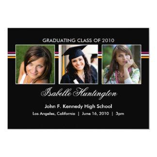 """Three Photos Bar Graduation Announcement 5"""" X 7"""" Invitation Card"""