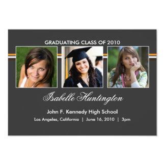 "Three Photos Bar Slate Graduation Announcement 5"" X 7"" Invitation Card"