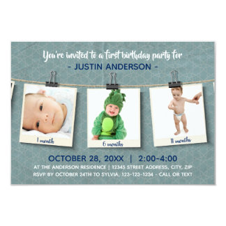 Three Photos on Twine-3x5Birthday Party Invitation