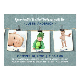 Three Photos on Twine - Birthday Party Invitation