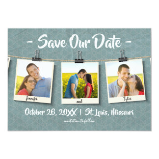 Three Photos on Twine - Save Our Date Card