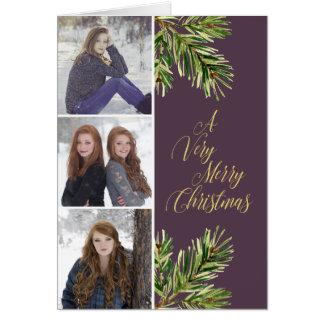 Three Photos Pine Branches Calligraphy Christmas Card