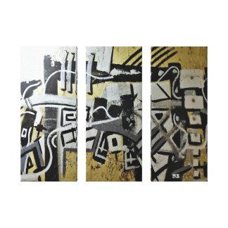 Three Piece Capricorn Mural Design Canvas Print