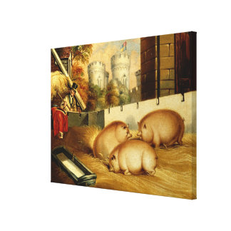 Three Pigs with Castle in the Background Canvas Print